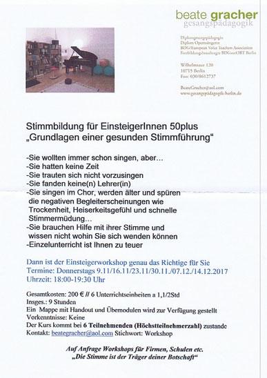 Einsteigerworkshop 2017 - Stimmbildung für Einsteigerinnrn 50plus